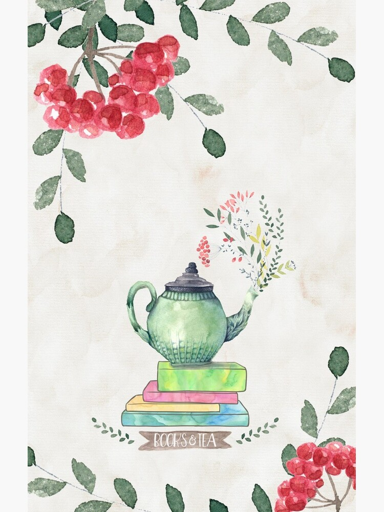 Books & Tea Watercolor by eviebookish