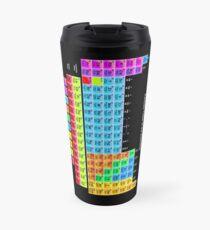 Leuchtendes Farb-Periodensystem auf Schwarz Thermosbecher