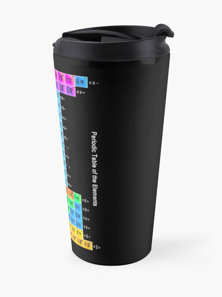 Alternate view of Vibrant Color Periodic Table on Black Travel Mug