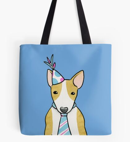 Party Hat Puppy Dog - English Bull Terrier Tote Bag