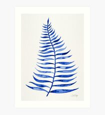 Navy Palm Leaf Art Print
