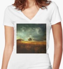 sunset landscape Women's Fitted V-Neck T-Shirt