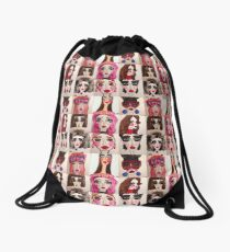 Fashion Doll Montage Drawstring Bag