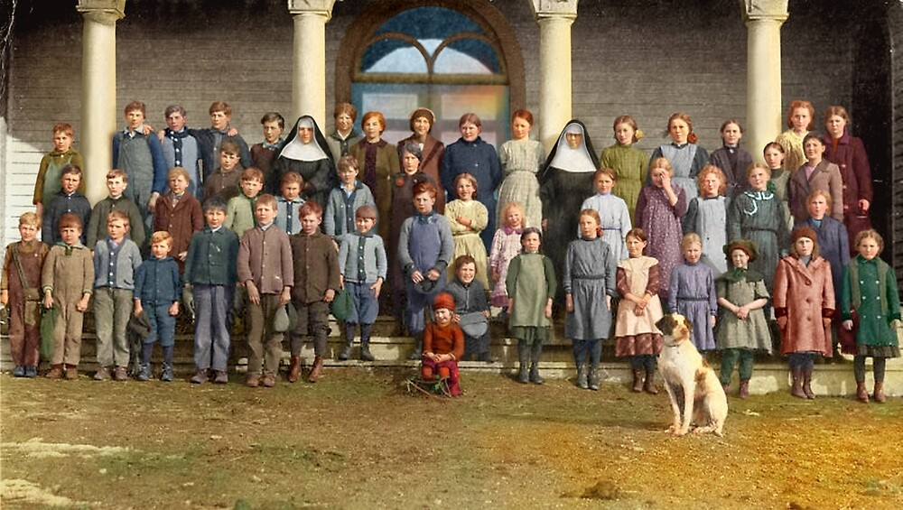 Colorized Students & faculty of a Catholic School 1920 by lexmil