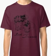 Sweet dog with cute kitten hand drawing Classic T-Shirt