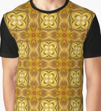 Golden Floret Pattern Graphic T-Shirt