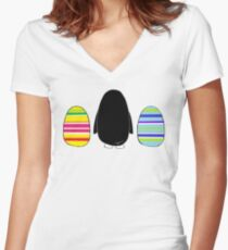 Easter penguin gifts merchandise redbubble penguins and eggs womens fitted v neck t shirt negle Image collections