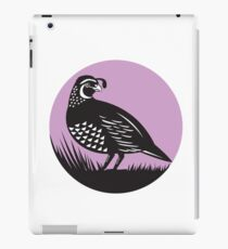 California Valley Quail Bird Circle Retro iPad Case/Skin
