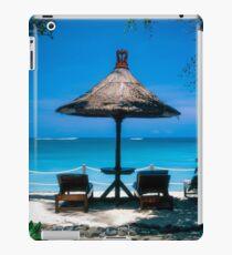 Beach umbrella and recliners, Bali, Indonesia. iPad Case/Skin