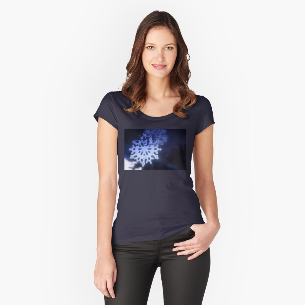 snowflakes in blue 3 Fitted Scoop T-Shirt