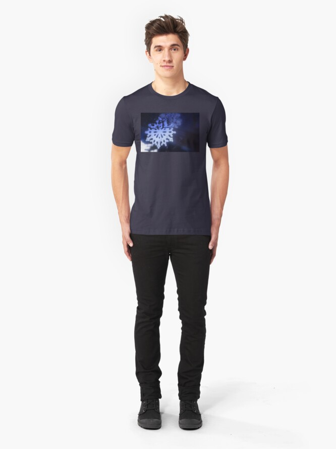 Alternate view of snowflakes in blue 3 Slim Fit T-Shirt