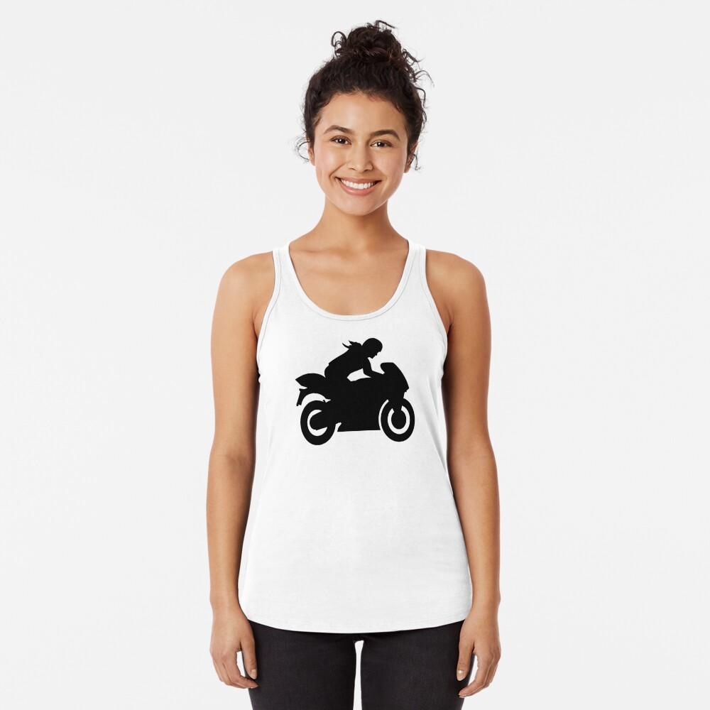 Motorrad Frau Mädchen Tanktop für Frauen Vorne