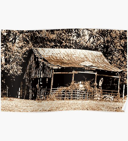 """""""Old Timer's Barn (B&W with a touch of brown)""""... prints and products Poster"""