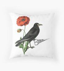 Crow & Scissors  Throw Pillow