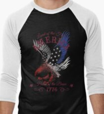 America - Land of the Free, Home of the Brave Quote Men's Baseball ¾ T-Shirt
