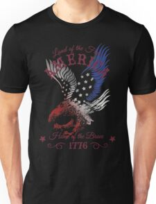 America - Land of the Free, Home of the Brave Quote Unisex T-Shirt