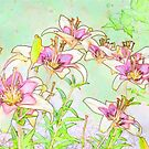 Pink And White Lilies - Digital Watercolor  by Sandra Foster