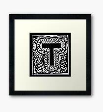 Initial T Black and White Framed Print