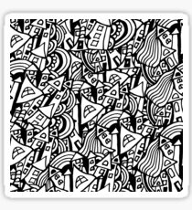 Black and white seamless pattern town houses with doodles.  Sticker