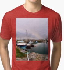 Hurry Head Harbour, Carnlough, County Antrim Tri-blend T-Shirt