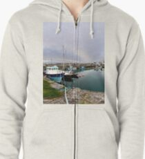 Hurry Head Harbour, Carnlough, County Antrim Zipped Hoodie