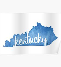 Kentucky - Watercolor Outline Poster