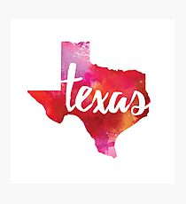 Texas - watercolor Photographic Print