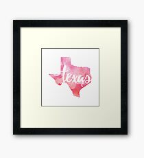 Texas - pink watercolor Framed Print