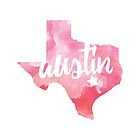 Austin, Texas - pink watercolor by gracehertlein