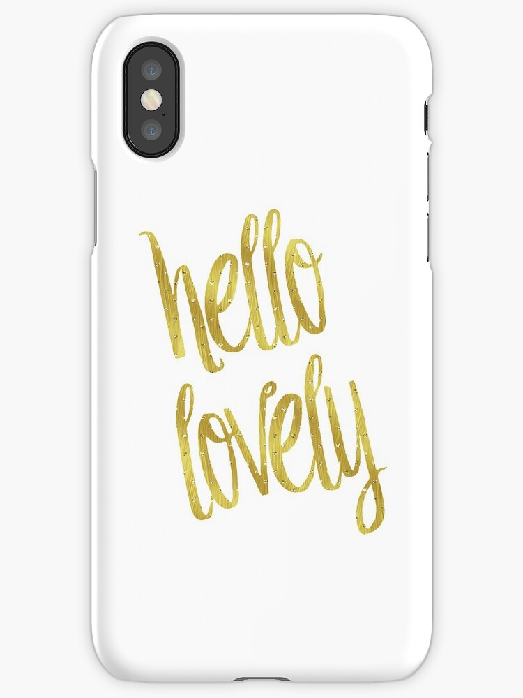 Hello Lovely Gold Faux Foil Metallic Glitter Inspirational Quote Isolated  On White Background By SilverSpiral