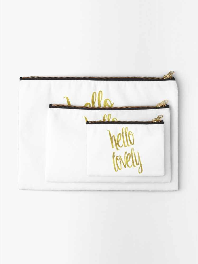 Hello Lovely Gold Faux Foil Metallic Glitter Inspirational Quote Isolated  On White Background