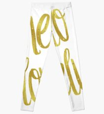 Hello Lovely Gold Faux Foil Metallic Glitter Inspirational Quote Isolated  On White Background Leggings