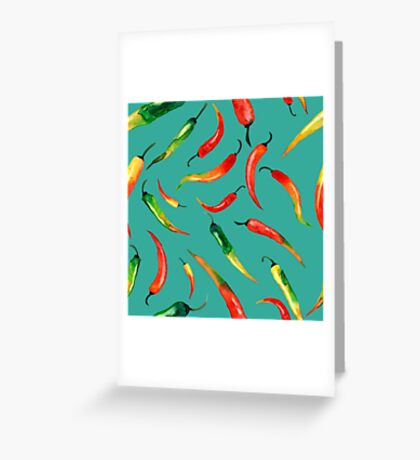 - Chilli pattern (turquoise) - Greeting Card