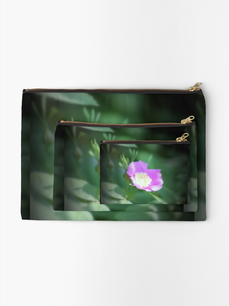 Alternate view of Old fashioned pink rose, near Trojan pond, Oregon Zipper Pouch