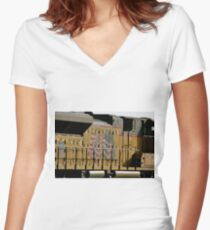 Patriotic Train Women's Fitted V-Neck T-Shirt