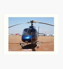 Blue helicopter aircraft Art Print