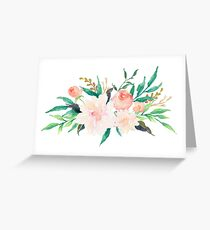 Watercolor Flowers Summer Pastel  Greeting Card
