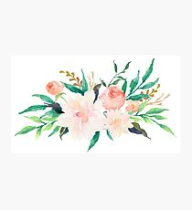 Watercolor Flowers Summer Pastel  Photographic Print