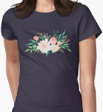 Watercolor Flowers Summer Pastel  Womens Fitted T-Shirt