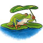 Frog with Leaf Umbrella by OhBillie