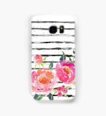 Watercolor Flowers Coral Pink Striped  Samsung Galaxy Case/Skin