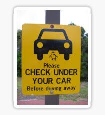 penguin parade warning sign Sticker
