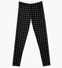 White and black grid Leggings