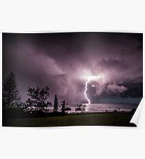 Lightning at Lennox Head Poster