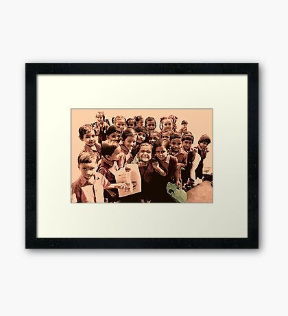 Happy Friendly Little Faces Framed Print