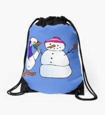 Winter Swan Drawstring Bag