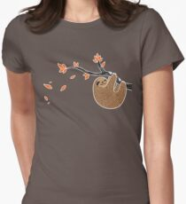 Sloth in Autumn Women's Fitted T-Shirt