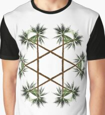 Palm Tree Star - White Background Graphic T-Shirt