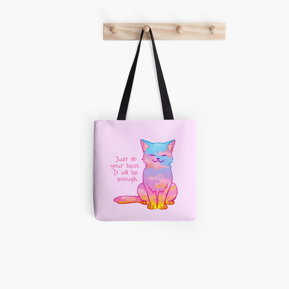 """Your Best Is Enough"" Sunset Cat Tote Bag"
