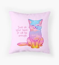 """Your Best Is Enough"" Sunset Cat Throw Pillow"